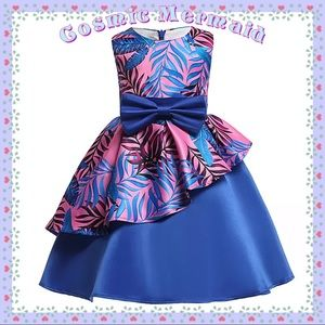 Other - 🆕🌺Blue & Pink Feathers & Petals Bow Tutu Dress🌺